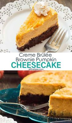 This amazing crème brulee brownie pumpkin cheesecake recipe with a fudgy brownie crust, creamy pumpkin cheesecake and a crispy caramelized sugar top is absolutely sinful and perfect for Thanksgiving. |allthatsjas.com | #dessert #cake #cheesecake #browniebottom #Thanksgiving #recipes #allthatsjas #holidays #treat #pumpkin #fall #howto Summer Dessert Recipes, Healthy Dessert Recipes, Desert Recipes, Easy Desserts, Delicious Desserts, Breakfast Recipes, Dessert Ideas, Dinner Recipes, Layered Pumpkin Cheesecake