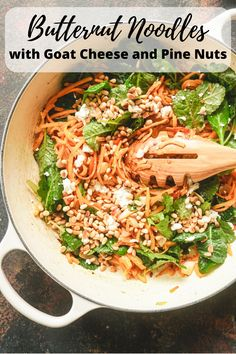 "This delicious, low carb ""pasta"" is a great way to make your family eat more veggies. Butternut Squash Noodles with Goat Cheese and Pine Nuts is our favorite recipe with this seasonal vegetable. #butternutsquash #butternutsquashnoodles #lowcarb #glutenfree #pastaalternative #spiralizedvegetable #fallrecipe #vegetarian"