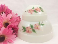 Vintage Fire King Colonial Band Gay Fad Peach Blossom Set of 2 Mixing Bowls by LakesideVintageShop on Etsy