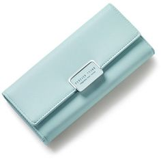 Light Green Fashion Women Wallet Clutch Purse Female Long Leather... ($11) ❤ liked on Polyvore featuring bags, wallets, blue leather wallet, long wallet, genuine leather wallet, long bags and long leather wallet