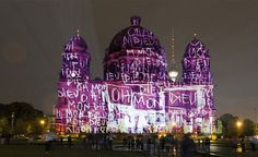 """artchipel: Agathe de Bailliencourt (b.1974, France/Germany) Oh Mon Dieu!. Realized with Skudi Optix for the """"Paint My House"""" project, projection of a drawing on the Berliner Dom in Berlin (2008)Light Installation. Realized with Skudi Optix for the Festival of Lights in Berlin, Projection of a drawing on the IHZ-Building near Friedrichstrasse (2007) Agathe de Bailliencourt is a painter, born in 1974 in Paris and currently based in Berlin. She works on canvas and paper, as well as in public…"""