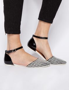 ::Black and white shoes are everything. Especially this cute little pair. the checkered print and ankle strap are perfect for spring::