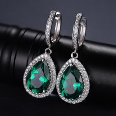 Luxury PEAR Cut Green Created Emerald Earrings Solid 925 Sterling Silver for sale online Emerald Green Earrings, Emerald Earrings, Sterling Silver Earrings, Silver Bracelet For Girls, Silver Bracelets, Silver Rings, Fine Jewelry, White Gold, Jewellery Shops