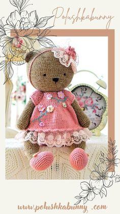 Shabby Chic Teddy Clothes Knitted Pattern for teddy bear doll by polushkabunny Teddy Bear Knitting Pattern, Knitted Teddy Bear, Teddy Bear Toys, Clothing Patterns, Knitting Patterns, Bear Doll, Yarn Brands, Doll Clothes, Shabby Chic