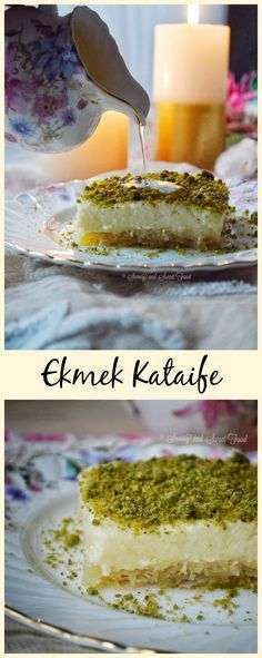 Ekmek Kataife is made with a layer of kataife dough (kataife is same as kanafeh/ kunafa ) which is baked till crispy, drenched in lemon and rosewater scented syrup, topped with a thick and creamy semolina custard and whipped cream and finally garnished with ground pistachios