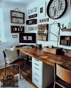 Rustic home office decor and design ideas. You can find work desks, lighting systems, shelves and useful organization examples on this page. #rustichomedecor #diyrustic #diyhomedecor