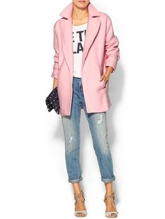 "Pink coats-huge this fall. Try CAbi's Tuscadero Coat paired with either CAbi's Deconstructed Brett's from Spring '13 (nice and soft and worn in like shown) or your own ""deconstructed jean"" Love the juxtaposition of glam + rough."