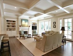 60 Spectacular Living Rooms with a Coffered Ceiling (Photos) 60 Spectacular Liv. 60 Spectacular Living Rooms with a Coffered Ceiling (Photos) 60 Spectacular Living Rooms with a Co Dream Living Rooms, Traditional Family Rooms, House Design, Family Room, Living Room Ceiling, White Oak Floors, Home Decor, Room Design, Luxury Interior Design