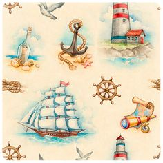 Collection of nautical watercolor illustrations, wedding invitations and patterns