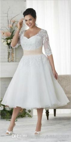 2017 Plus Size Wedding Dresses With Sleeves A Line V Neck Ball Gowns Under 100 Vintage Tea Length Wedding Dress Colored Wedding Gowns dresses plus size tea length Designer Wedding Dresses, Bridal Dresses, Bridesmaid Dresses, Dress Wedding, Wedding Reception, Reception Dresses, Tea Length Wedding Dresses, Lace Wedding, Party Dresses