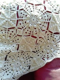Crocheted Throw Blanket. To Die For Wool Blend Antiqued White Throw. Cottage Chic for the Polar Vortex