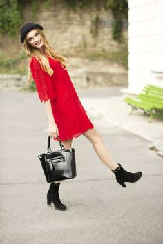 Red dress outfit #fashion #fashionblogger #style #streetstyle #reddress #red #autumn #hat #blonde Red Dress Outfit, Dress Outfits, Dresses, Outfit Of The Day, Bell Sleeve Top, Street Style, Style Inspiration, Fashion Bloggers, My Style