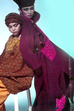 Quilted Coats, the fabric made in Assam for blankets, I had it milled on running length looms for production of these best selling styles. Having inlaid large buttons with mother of pearl and jewels in brass.Linda Pastorino 1984 Fall /Winter collection