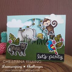 Christy Gets Crafty: Jungle Book Trifold - Lawnscaping Challenge 129 (video tutorial) #lawnfawn #lawnscapingchallenges #ellenhutson