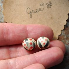 Gaea Ceramic Bead and Art Studio Blog: Little gems. Original and handmade ceramic tribal earring beads. gaea.cc