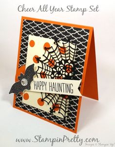 A Sneak Peek Halloween Card of Cheer All Year! - http://stampinpretty.com/2015/08/a-sneak-peek-halloween-card-of-cheer-all-year.html  A spooky delight.  I paired Cheer All Year Stamp Set with adorable Happy Haunting Designer Series Paper. More details & Stampin' Up! card ideas on my Stampin' Pretty blog, http://stampinpretty.com.  Mary Fish, Independent Stampin' Up! Demonstrator.