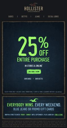 Discount coupons for hollister