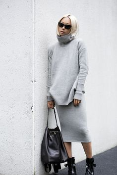 Women's Black Sunglasses, Grey Turtleneck, Grey Pencil Skirt, Black Leather Bucket Bag, and Black Leather Boots December Outfits, Jersey Oversize, Grey Pencil Skirt, Pencil Skirts, Cool Outfits, Fashion Outfits, Fashion Story, Skirt Outfits, Skirts With Boots
