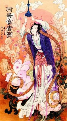 (China) Mythical lady by Hua Sanchuan painting on silk. Chinese Drawings, Chinese Artwork, Chinese Painting, Traditional Japanese Art, Traditional Paintings, Chinese Martial Arts, Japanese Aesthetic, Chinese Culture, Asian Art