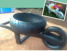 recycle tires into garden cart planterBe creative in our daily life! New uses for old a href='/tag/tires' a href='/tag/DIY' a href='/tag/decoration'Wheel barrel made out of tires Garden Crafts, Garden Projects, Tire Furniture, Recycled Furniture, Modern Furniture, Furniture Design, Tire Craft, Tire Garden, Reuse Old Tires
