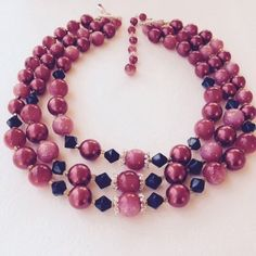 VINTAGE TRIPLE STRAND BEADED NECKLACE WITH HOOK CLASP BEAUTIFUL!!
