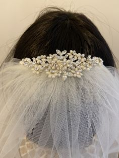Excited to share the latest addition to my #etsy shop: Freshwater Pearl & Rhinestone Comb, Optional veil First Communion Veils, Tulle, Flower Girl Dresses, Wedding Dresses, Fashion, Bride Dresses, Moda, Bridal Wedding Dresses, Fashion Styles