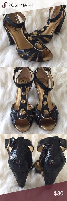 Women's Seychelles Jeweled Pumps Stunning! Ankle strap, no damage, just has non skid appliqués on the bottoms. These beauties have been boxed up in the closet for too long, they need to be shown off! Seychelles Shoes Heels