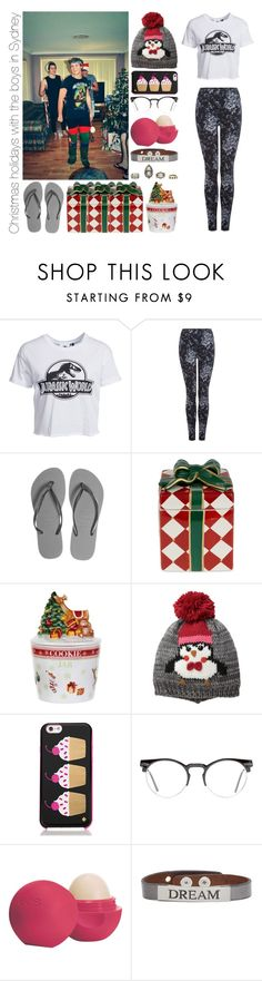 """""""Christmas holidays with the boys in Sydney"""" by michaelssmile ❤ liked on Polyvore featuring New Look, Dex, Havaianas, Waterford, Spode, D&Y, Kate Spade, Spitfire, Eos and Good Work(s)"""