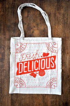 market tote bag, handwriting lettering
