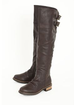 "Capital+Legacy+Knee-high+Boots+In+Brown 44.99 at shopruche.com. Take a stroll in these chocolate colored leatherette boots with cut-out detailing and brass-colored buckle closures. Finished with side zipper closures and gripped soles.19.5"" shaft height , 15"" calf circumference,  1.5"" heel,  Slightly..."