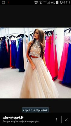Tan and silver high neck two peice prom dress