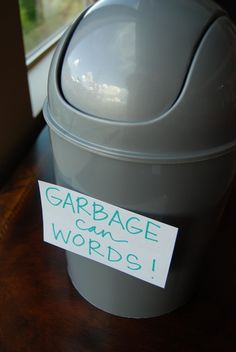 FHE lesson on words that belong in the garbage