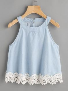 Womens Fashion - Lace Hem Keyhole Back Chambray Top Summer Outfits, Girl Outfits, Casual Outfits, Fashion Outfits, Pretty Outfits, Cute Outfits, Mode Top, Chambray Top, Girl Fashion