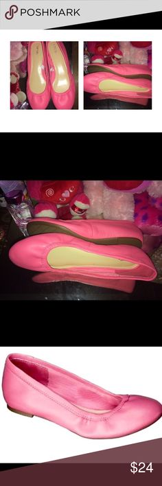 Barbie Pink Leather Ballet Flats New! Beautiful Barbie Pink Genuine Leather Ballet Flats Size/ say 6 but more of 6.5 they run large I'm a shoe size 6 and they don't fit 😞 I decided to resell them and give them a better owner who can actually wear them. Shoes Flats & Loafers