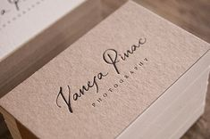 Vanesa Pinac is a photographer whose work is done in different areas: wedding photography kids babies or even in the world of art and she leaves her particular vision in all of them. She gives a different almost analogical touch to her photographic re Luxury Business Cards, Cool Business Cards, Business Card Logo, Letterpress Business Cards, Business Card Design Inspiration, Business Design, Logo Photographe, Logo Branding, Branding Design