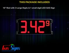 16 Inch Gas Price LED Sign (Digital) Red with 3 Large Digits & 1 small digit with housing dimension H507mm x W1077mm x D55mmand format 8.88 9 comes with complete set of Control Box, Power Cable, Signal Cable & 2 RF Remote Controls (Free remote controls).
