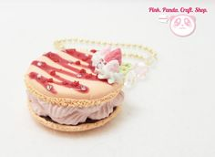 Polymer clay macaroon beaded keychain by pinkpandacraftshop, $18.00