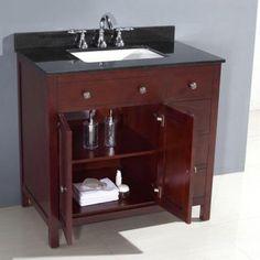 Austen 36 in. Vanity in Dark Cherry with Granite Vanity Top in Black-PEAUSTEN36 - The Home Depot