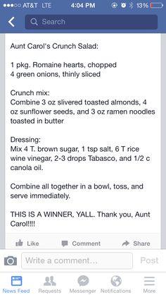 Aunt Carol's crunchy green salad Jen hatmaker Robertson