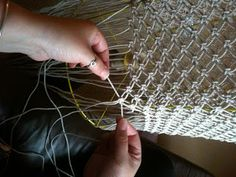 Before      Detail of original shade      60 strands of twine, each 3m long, sit on the circumference of the shade.         nearly finishe...