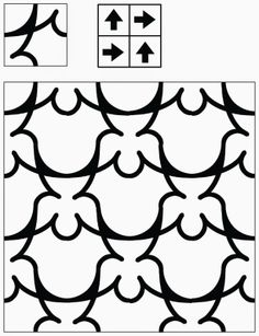 Carpet tiles span wall to wall or form area rugs. using only one tile. Tile Patterns, Textures Patterns, Print Patterns, Border Design, Pattern Design, Tesselations, Arts And Crafts, Paper Crafts, Black And White Design