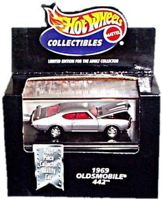 Hot Wheels Collectibles 1969 Oldsmobile 442 with display case by Hot Wheels. $20.00. made in 1998. diecast metal body. comes with a display case. 1/64 Scale. Hot Wheels Collectibles - Cool Collectibles - Black Box. 1969 Odsmobile 442 (Hard Top) - Metalflake Silver Body Color. Multi-Piece Collector Quality Car - Highly Detailed - 1:64 Scale DieCast Collector Car Replica. Limited Edition for the Adult Collector featuring multi-piece moveable parts and a top quality paint ...