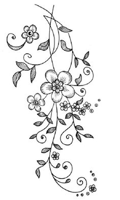 Hand Embroidery Patterns Flowers, Machine Embroidery Patterns, Embroidery Designs, Simple Flower Drawing, Beautiful Flower Drawings, Tattoo Lettering Design, Vine Drawing, Fairy Crafts, Cartoon Coloring Pages