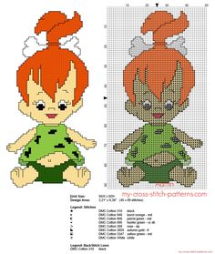 Pebbles Flintstone free cross stitch pattern 45 x 89 stitches 8 DMC threads