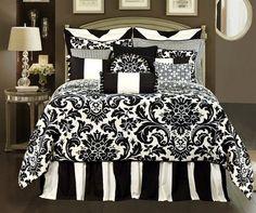 Symphony by Rose Tree, Elegant, Formal, Black and white damask print comforter, Luxury oversize comforter, reversible, 100% cotton, lined drapes, lined valances,