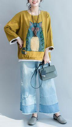 yellow cartoon plus size cotton sundresses casual stylish tops half sleeve t shirt