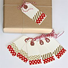 Red and Gold Washi Tape Christmas Gift Tags - Set of 6