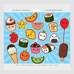 Cute food clipart - kawaii clip art, Japanese cute, sushi, fruit, cupcake, onigiri, starburst backgrounds, for personal and commercial use on Etsy, $4.50