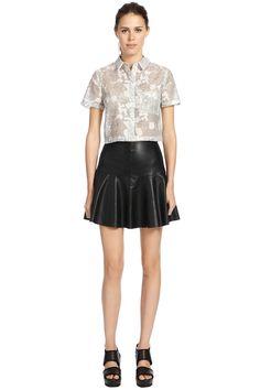 Faux Leather Flippy Skirt Black