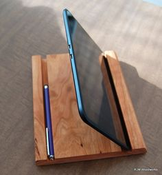 Kindle/Tablet Stand Hand Crafted of Solid Cherry by RJMWoodworks  Great for listening to music in my studio!
